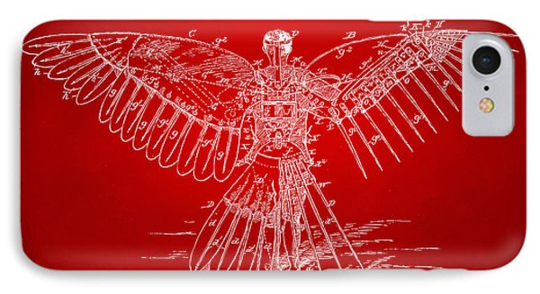 Icarus Human Flight Patent Artwork Red IPhone Case by Nikki Marie Smith