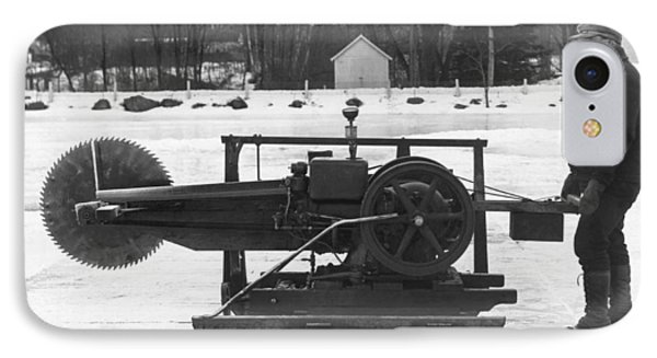 Ice Block Cutting Machine IPhone Case by Underwood Archives