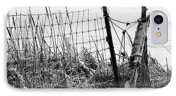 Ice Coated Wire Fence And Rushes After A Winter Storm IPhone Case by Louise Heusinkveld