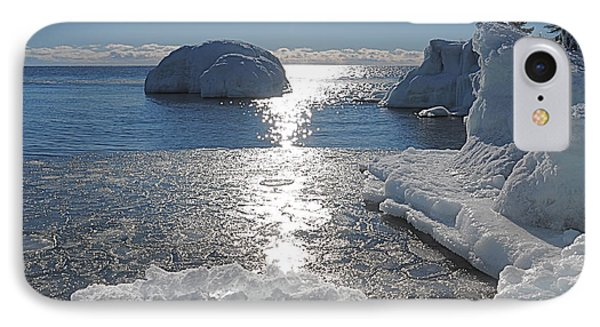 Ice Cold Day On Lake Superior Phone Case by Sandra Updyke