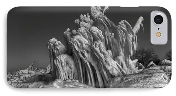 Ice Formation Black And White Phone Case by Daniel Behm