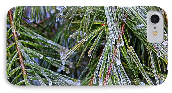 Ice On Pine Needles  IPhone Case by Daniel Reed