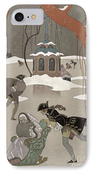 Ice Skating On The Frozen Lake IPhone Case by Georges Barbier