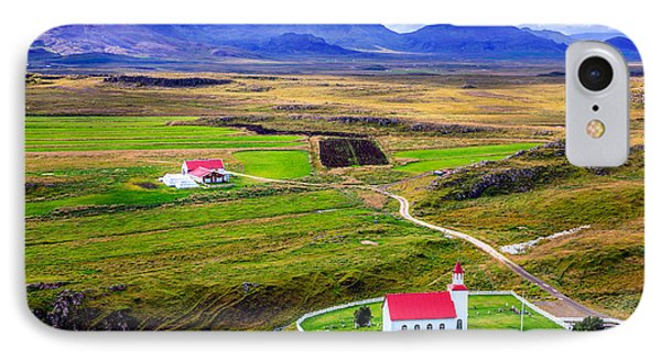 Icelandic Church And Farm IPhone Case by Alexey Stiop
