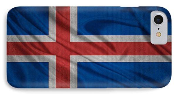Icelandic Flag Waving On Canvas IPhone Case by Eti Reid