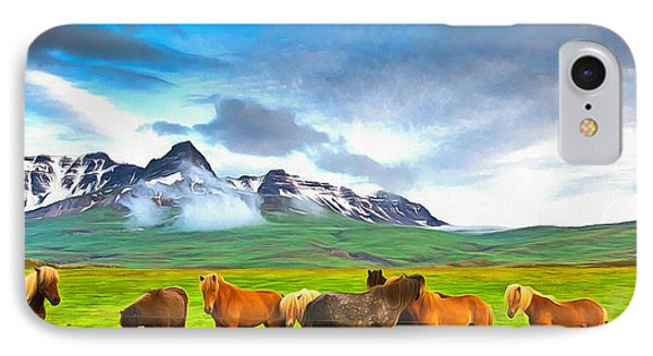 Icelandic Horses In Iceland Painting With Vibrant Colors IPhone Case by Matthias Hauser