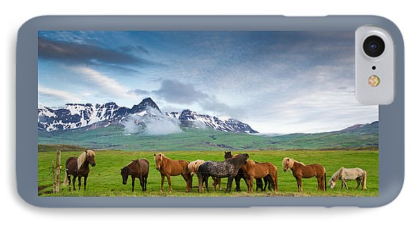 Icelandic Horses In Mountain Landscape In Iceland IPhone Case by Matthias Hauser