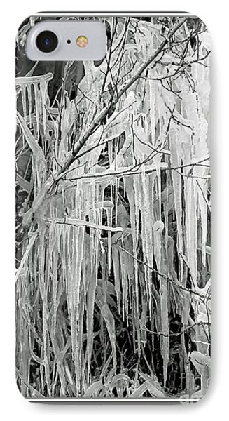 Icicles In Black And White Phone Case by Carol Groenen