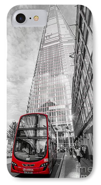 Iconic Red London Bus With The Shard - London - Selective Colour IPhone Case by Ian Monk