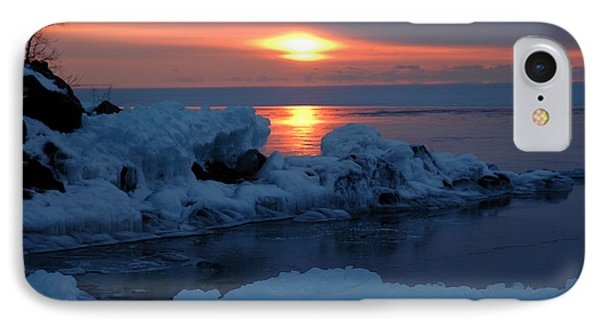IPhone Case featuring the photograph Icy Lake Superior Sunrise by Sandra Updyke