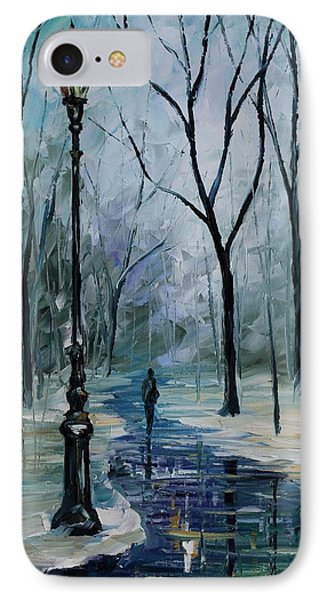 Icy Path - Palette Knife Oil Painting On Canvas By Leonid Afremov Phone Case by Leonid Afremov
