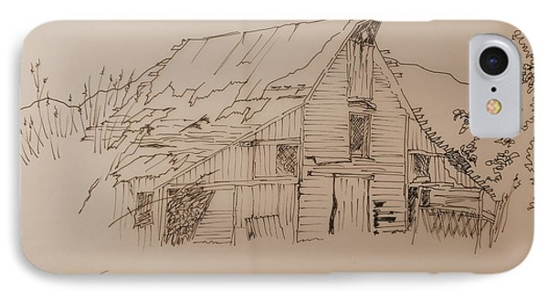 IPhone Case featuring the drawing Idaho Barn by Joel Deutsch