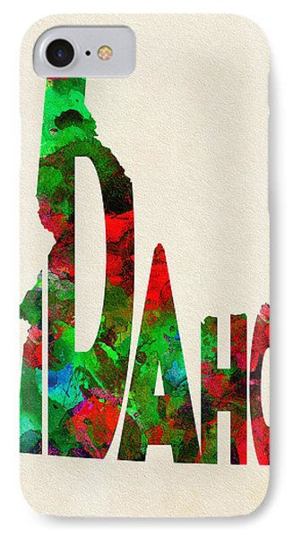 Idaho Typographic Watercolor Map IPhone Case by Ayse Deniz