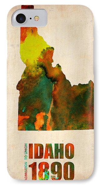 Idaho Watercolor Map IPhone Case by Naxart Studio
