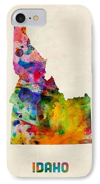 Idaho Watercolor Map IPhone Case by Michael Tompsett