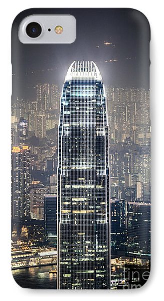 Ifc Tower And City Of Hong Kong At Night IPhone Case by Matteo Colombo