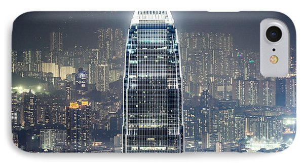 Ifc Tower And Skyline Of Hong Kong At Night IPhone Case by Matteo Colombo