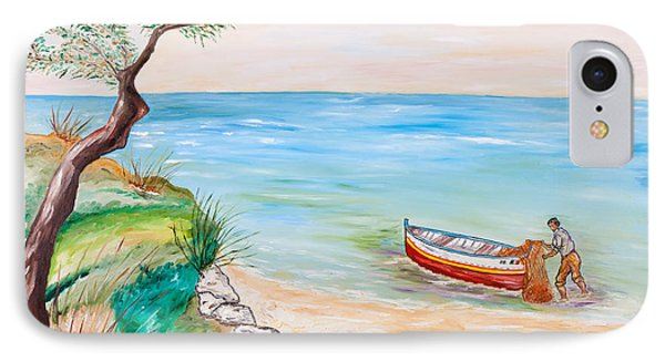IPhone Case featuring the painting Il Pescatore Solitario by Loredana Messina