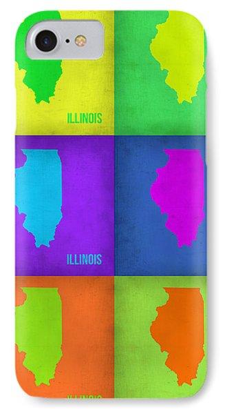 Illinois Pop Art Map 1 Phone Case by Naxart Studio