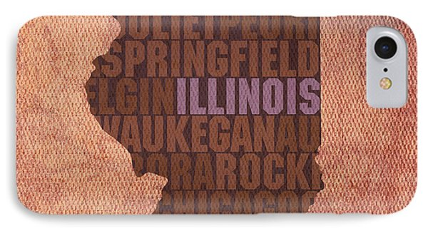 Illinois State Word Art On Canvas IPhone Case by Design Turnpike