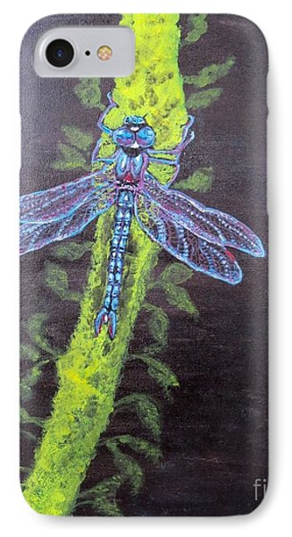 IPhone Case featuring the painting Illumination Of A Blue Dragonfly's Form At Nightfall Painting by Kimberlee Baxter