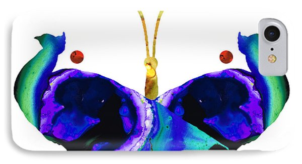 Illusion - Peacock Butterfly Art Painting Phone Case by Sharon Cummings