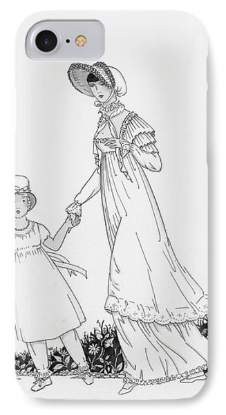 Illustration Of A Nineteenth Century Mother IPhone Case by Claire Avery