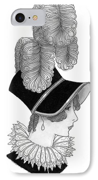Illustration Of A Nineteenth Century Woman IPhone Case by Claire Avery