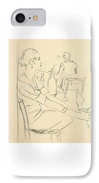 Illustration Of A Woman Sitting Down IPhone Case