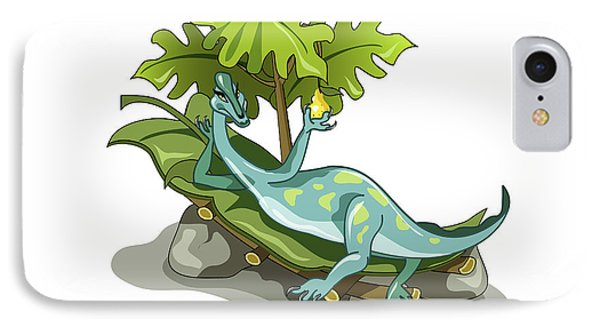 Illustration Of An Iguanodon Sunbathing Phone Case by Stocktrek Images