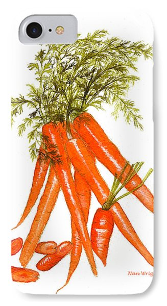 Illustration Of Carrots IPhone Case by Nan Wright