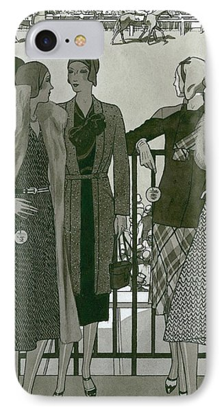 Illustration Of Four Women At The Grand National IPhone Case by Pierre Mourgue