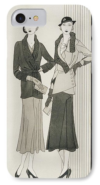 Illustration Of Two Women Modeling Suits IPhone Case by Douglas Pollard