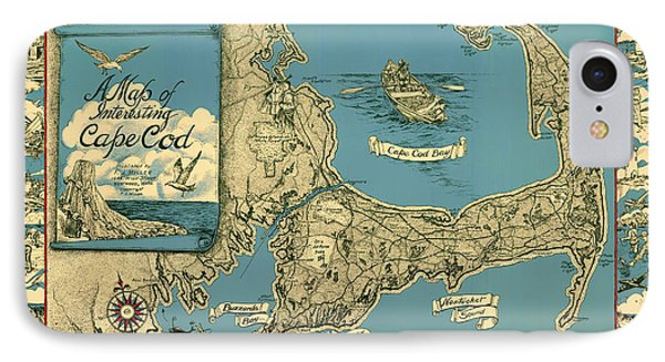 Illustrative Map Of Cape Cod 1945 IPhone Case by Mountain Dreams