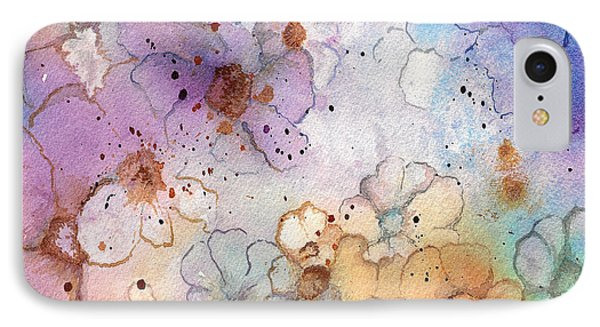 IPhone Case featuring the painting Imaginary Figments Abstract Flowers by Nan Wright