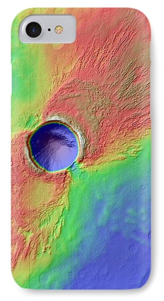 Impact Crater In Arcadia Planitia IPhone Case by Nasa