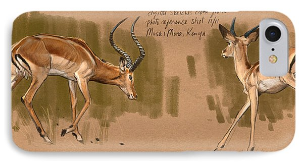 IPhone Case featuring the digital art Impala Studdies by Aaron Blaise