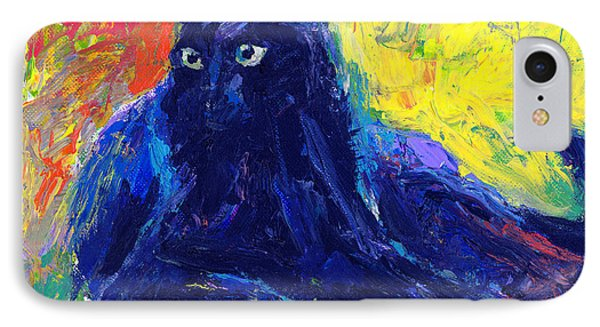 Impasto Black Cat Painting IPhone Case by Svetlana Novikova