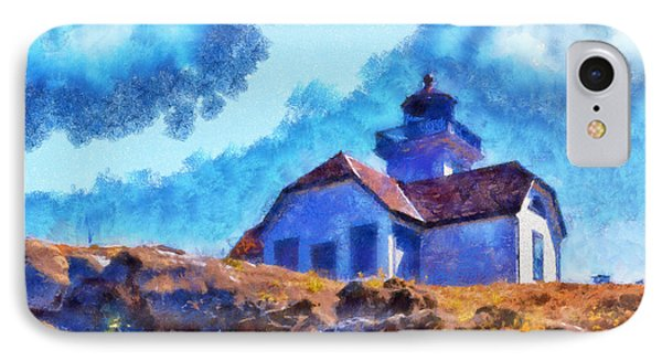 IPhone Case featuring the digital art Impressionist Lime Kiln Lightouse by Kaylee Mason
