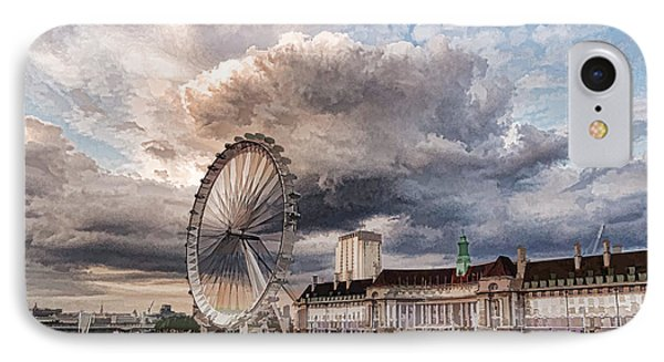 Impressions Of London - London Eye Dramatic Skies IPhone Case