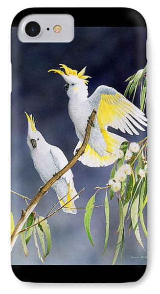 In A Shaft Of Sunlight - Sulphur-crested Cockatoos IPhone Case by Frances McMahon