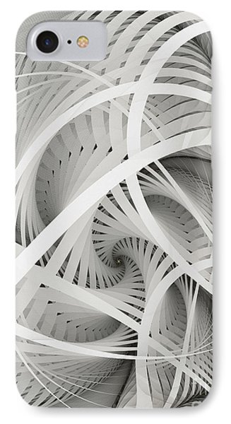In Betweens-white Fractal Spiral IPhone Case by Karin Kuhlmann