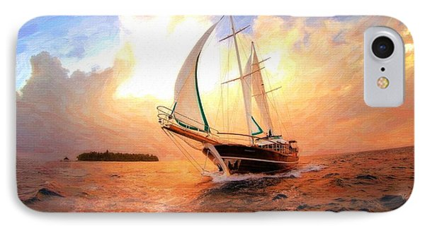 In Full Sail - Oil Painting Edition IPhone Case by Lilia D