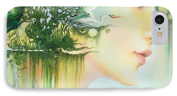 IPhone Case featuring the painting In The Fluter Of Wings-in The Silence Of Thoughts by Anna Ewa Miarczynska