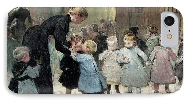 In The Playground Oil On Canvas IPhone Case by Henri Jules Jean Geoffroy
