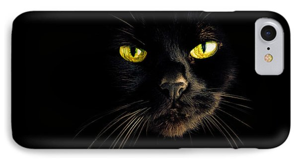 In The Shadows One Black Cat Phone Case by Bob Orsillo