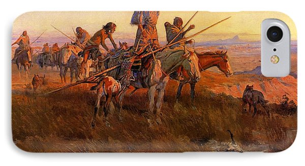 In The Wake Of The Buffalo Hunters Phone Case by Charles Russell