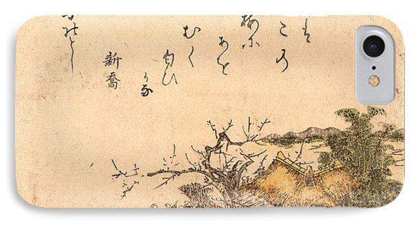 Inakaya No Ume, Plum Tree Of A Country Farmhouse IPhone Case by Toyohiro, Utagawa (d.1829), Japanese, Utagawa (d.1829), Japanese