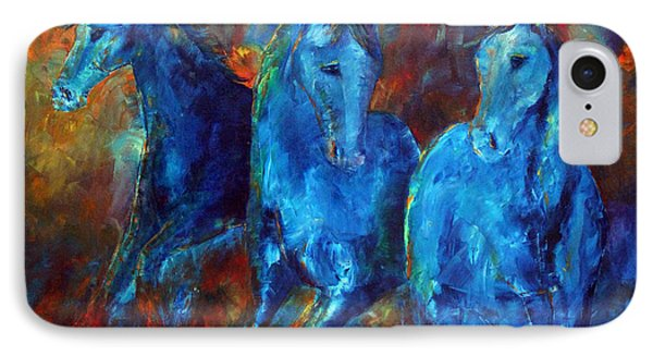 IPhone Case featuring the painting Abstract Horse Painting Blue Equine by Jennifer Godshalk