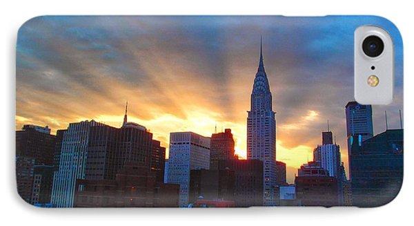 Incredible New York Skyline Sunset Phone Case by Miriam Danar